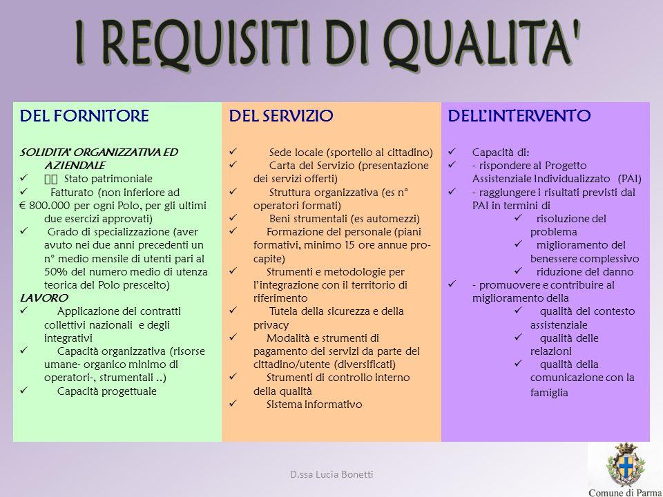 I REQUISITI DI QUALITA DEL FORNITORE DEL SERVIZIO DELL'INTERVENTO
