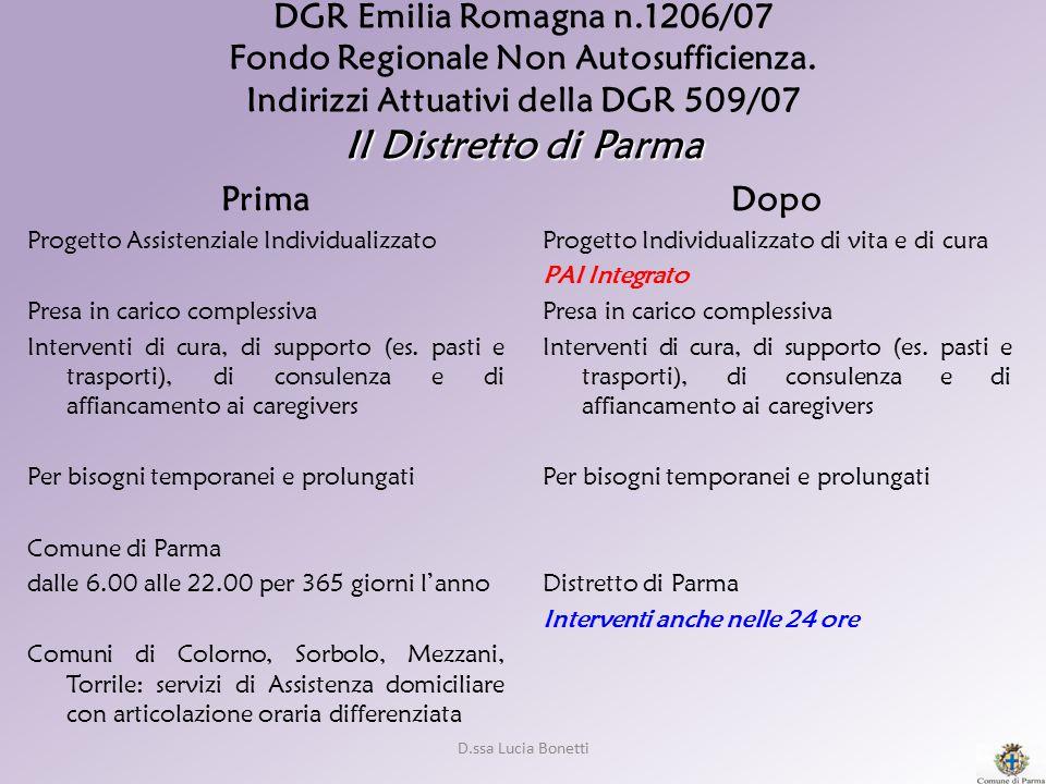 DGR Emilia Romagna n. 1206/07 Fondo Regionale Non Autosufficienza