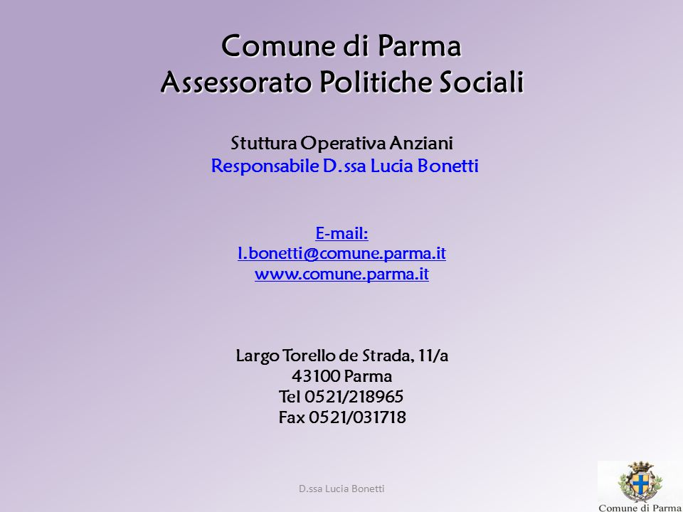 Comune di Parma Assessorato Politiche Sociali