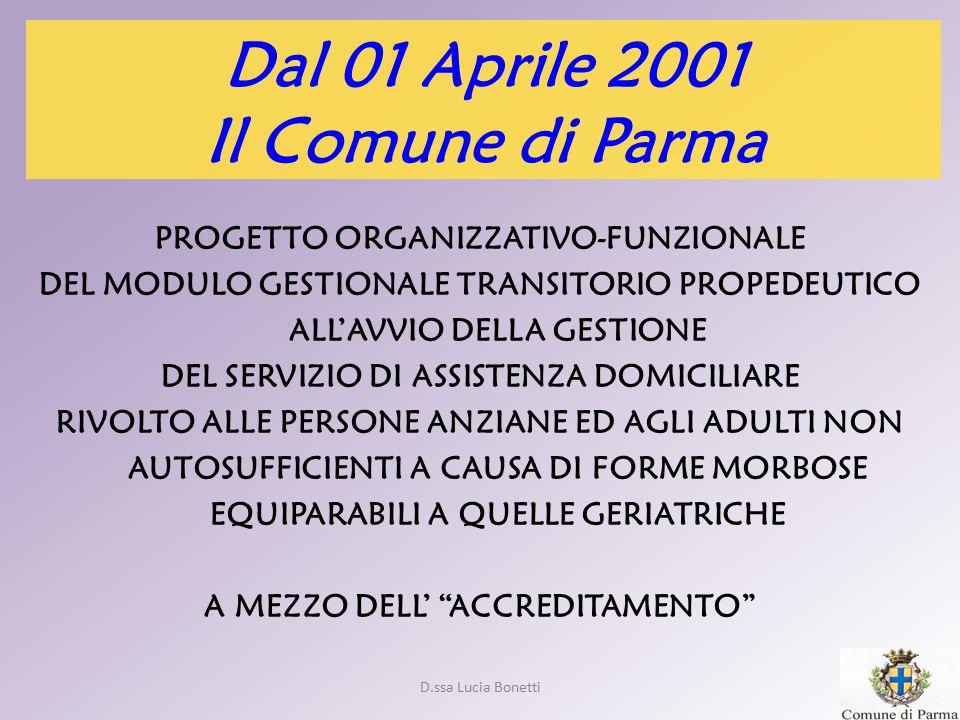Dal 01 Aprile 2001 Il Comune di Parma