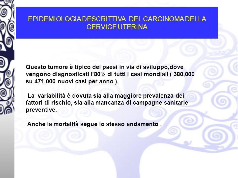 EPIDEMIOLOGIA DESCRITTIVA DEL CARCINOMA DELLA CERVICE UTERINA