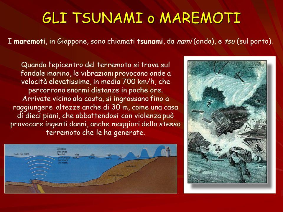 GLI TSUNAMI o MAREMOTI I maremoti, in Giappone, sono chiamati tsunami, da nami (onda), e tsu (sul porto).