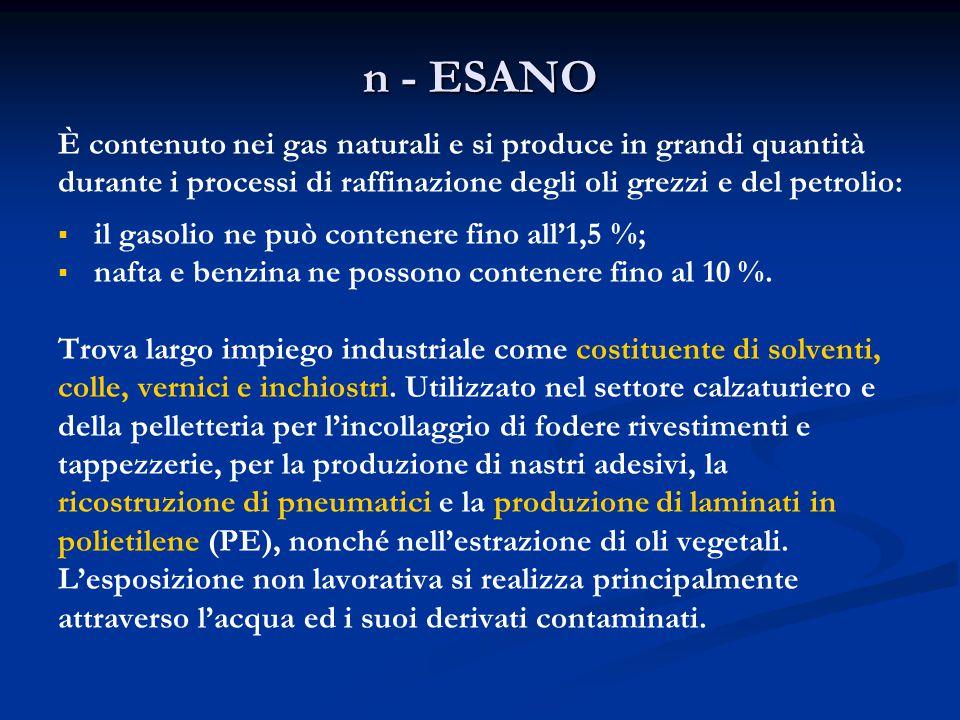 n - ESANO È contenuto nei gas naturali e si produce in grandi quantità