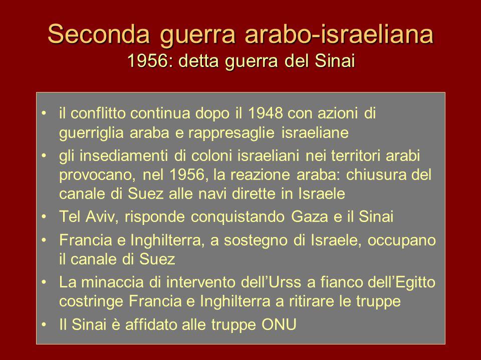 Seconda guerra arabo-israeliana 1956: detta guerra del Sinai