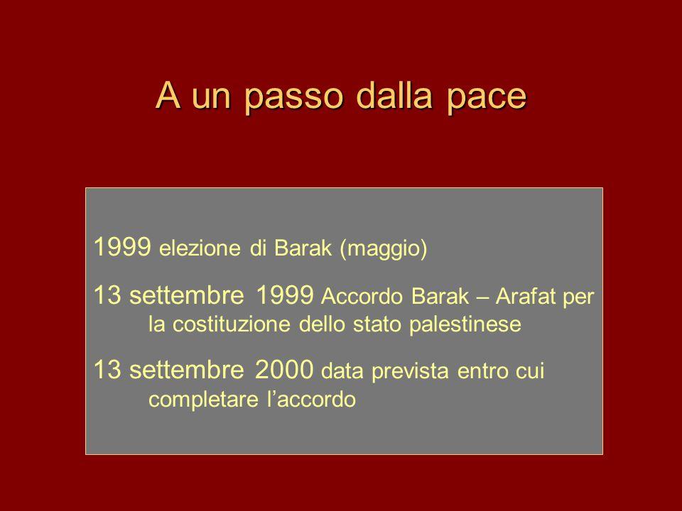 A un passo dalla pace 1999 elezione di Barak (maggio)