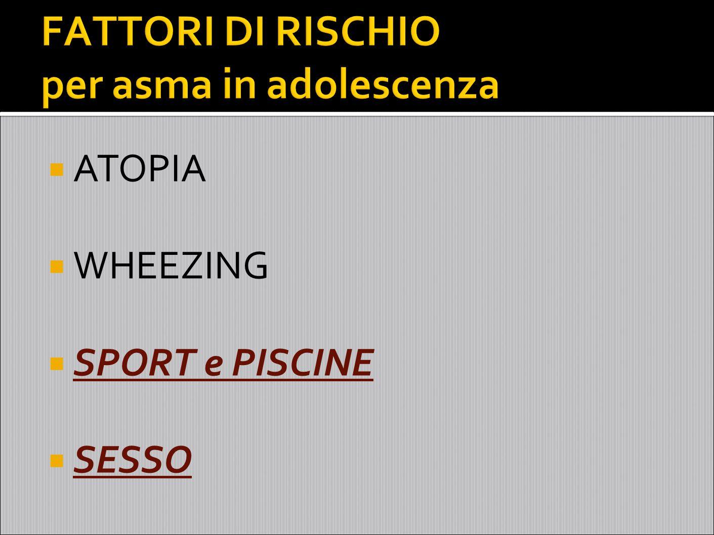 FATTORI DI RISCHIO per asma in adolescenza