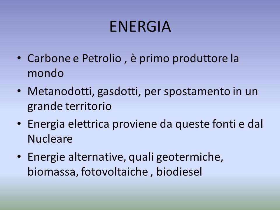 ENERGIA Carbone e Petrolio , è primo produttore la mondo