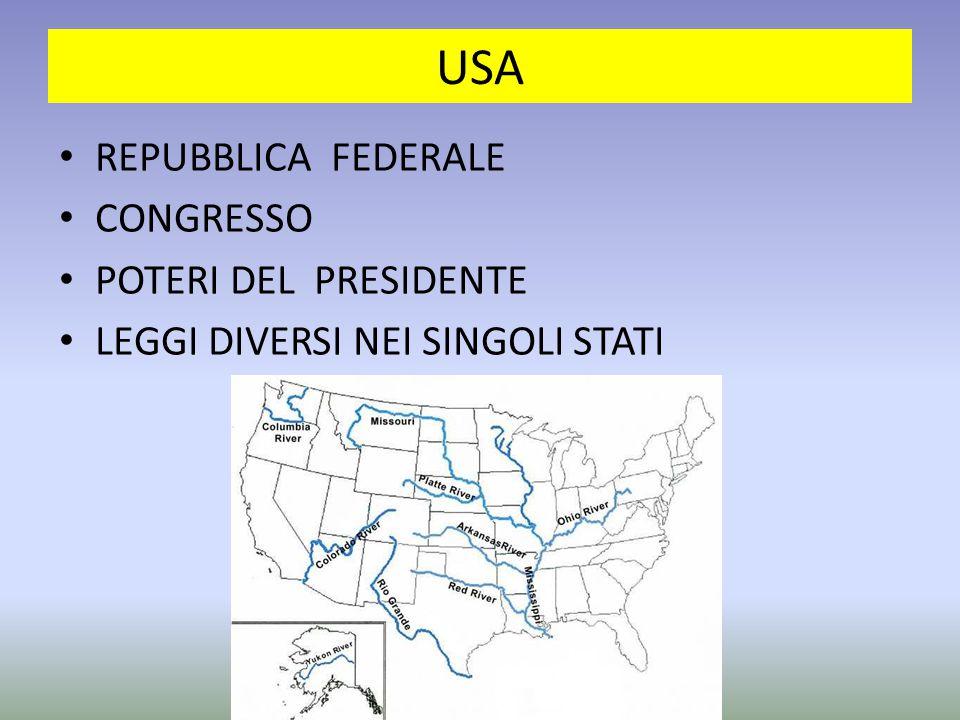 USA REPUBBLICA FEDERALE CONGRESSO POTERI DEL PRESIDENTE