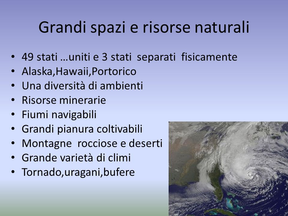Grandi spazi e risorse naturali