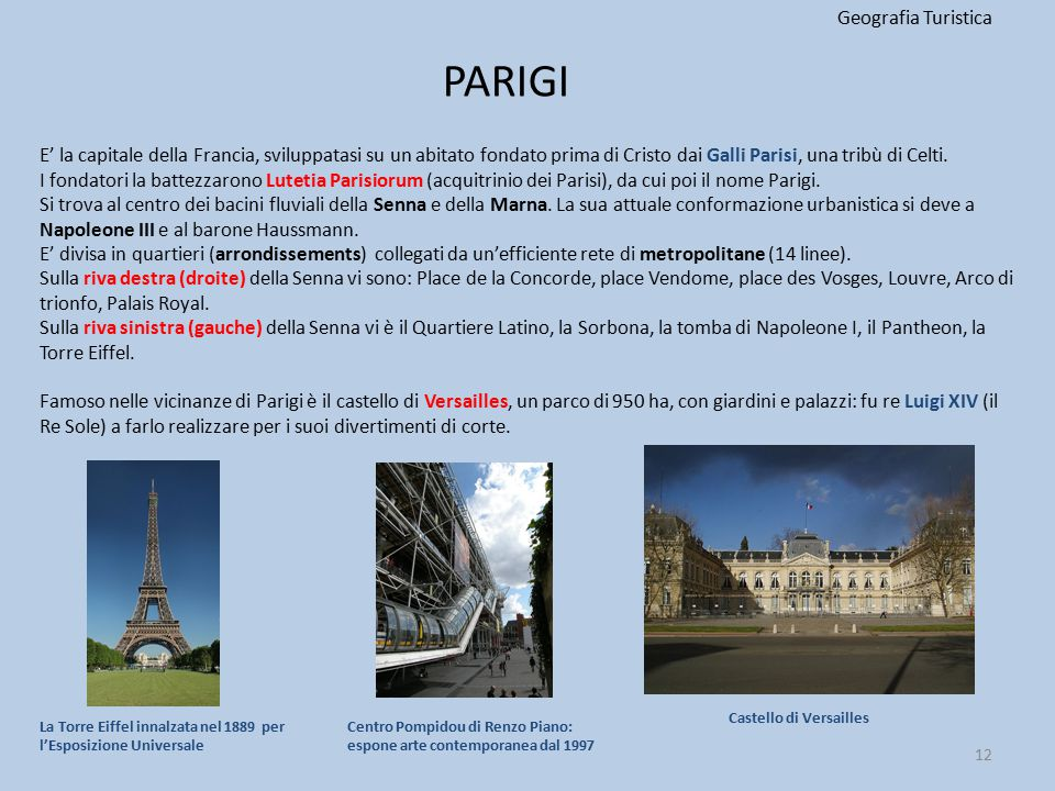 PARIGI Geografia Turistica
