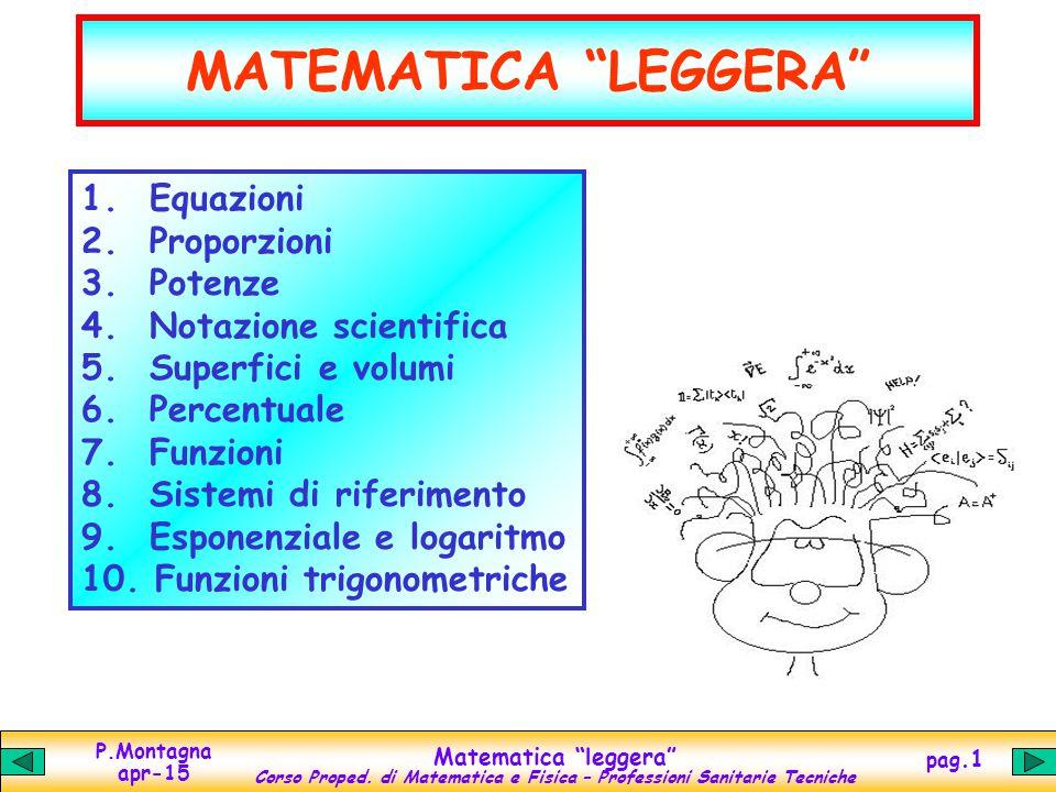 MATEMATICA LEGGERA Equazioni Proporzioni Potenze
