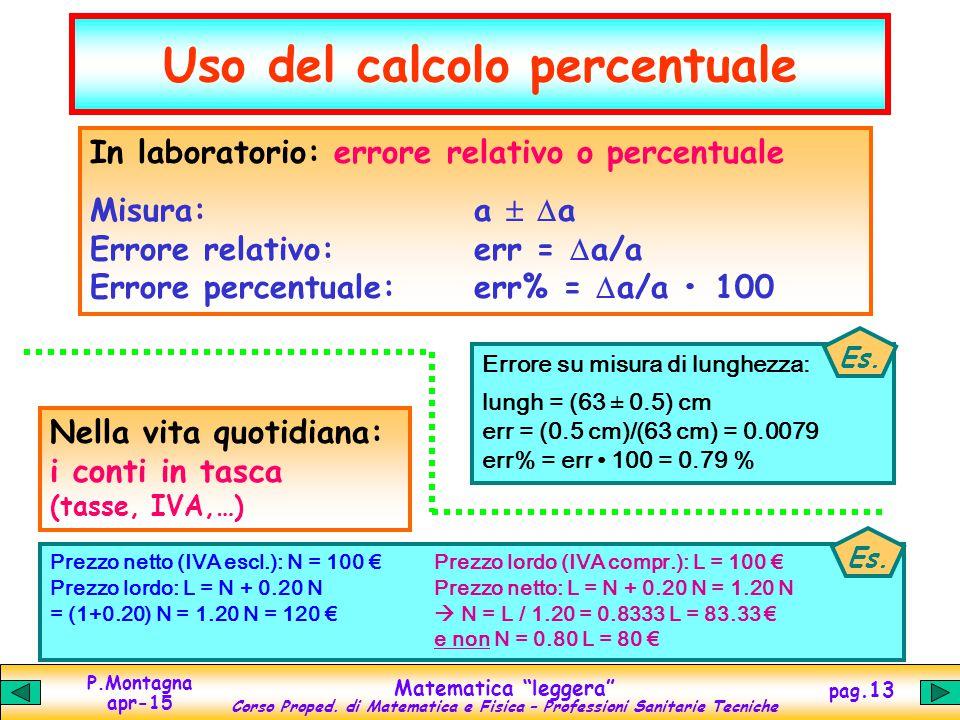 Uso del calcolo percentuale
