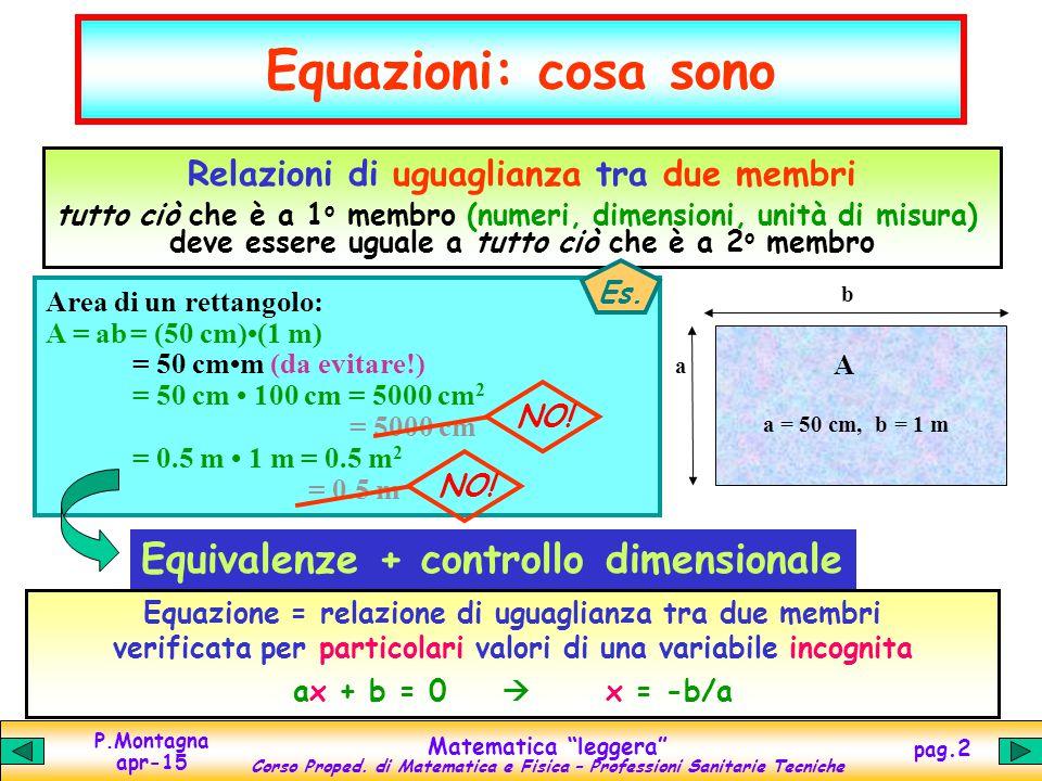 Equazioni: cosa sono Equivalenze + controllo dimensionale