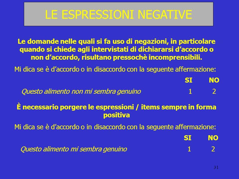 È necessario porgere le espressioni / items sempre in forma positiva