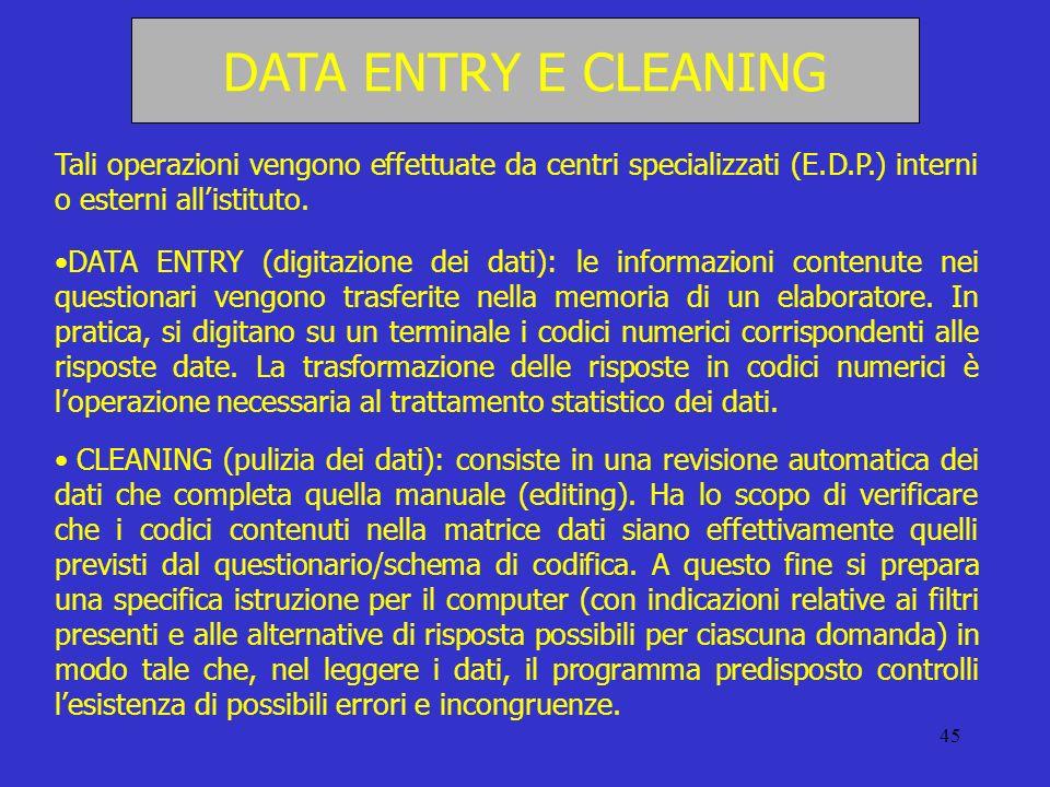 DATA ENTRY E CLEANINGTali operazioni vengono effettuate da centri specializzati (E.D.P.) interni o esterni all'istituto.