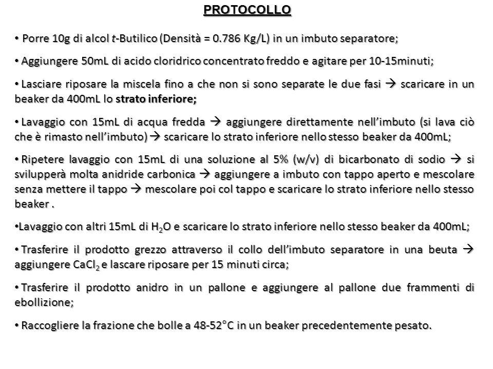 PROTOCOLLO Porre 10g di alcol t-Butilico (Densità = 0.786 Kg/L) in un imbuto separatore;