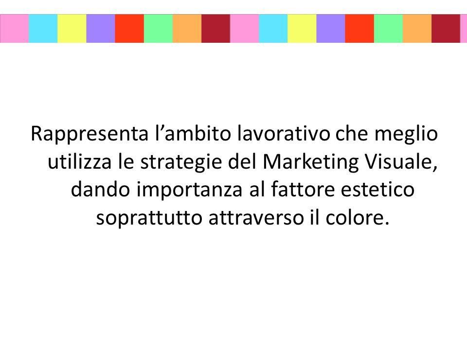 Rappresenta l'ambito lavorativo che meglio utilizza le strategie del Marketing Visuale, dando importanza al fattore estetico soprattutto attraverso il colore.