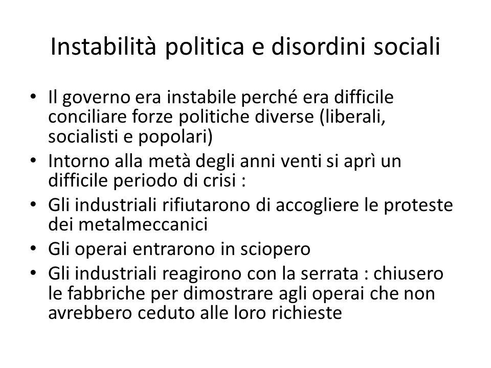 Instabilità politica e disordini sociali
