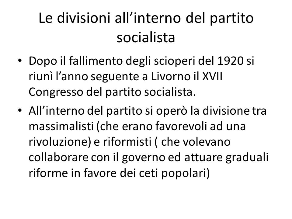 Le divisioni all'interno del partito socialista