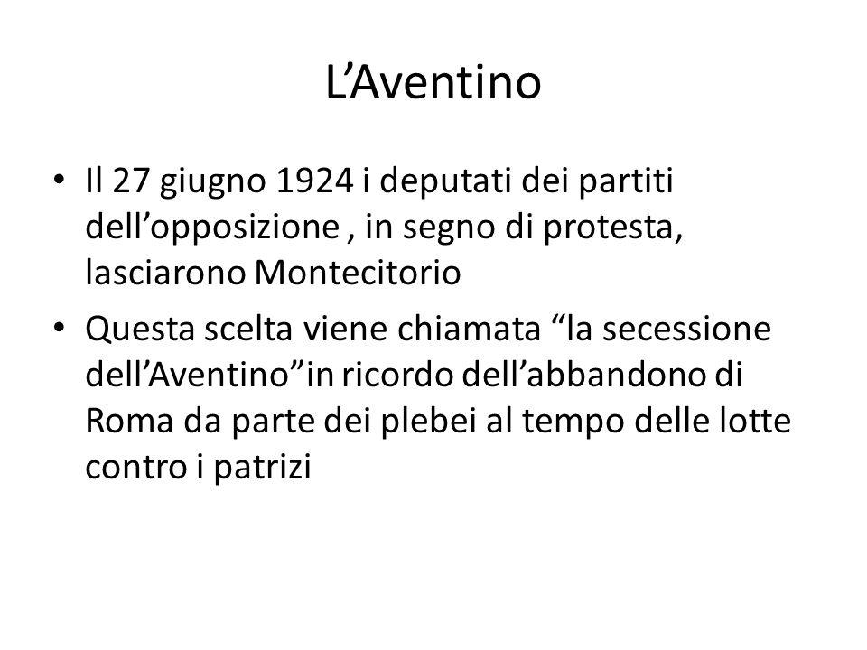 L'Aventino Il 27 giugno 1924 i deputati dei partiti dell'opposizione , in segno di protesta, lasciarono Montecitorio.