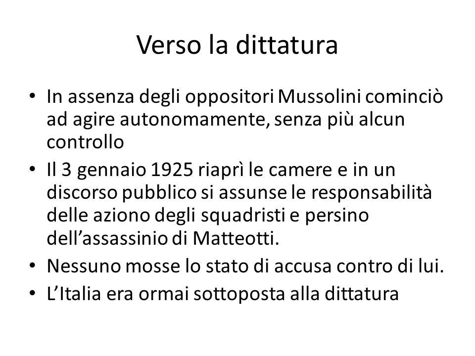 Verso la dittatura In assenza degli oppositori Mussolini cominciò ad agire autonomamente, senza più alcun controllo.