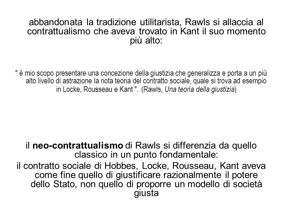 abbandonata la tradizione utilitarista, Rawls si allaccia al contrattualismo che aveva trovato in Kant il suo momento più alto: