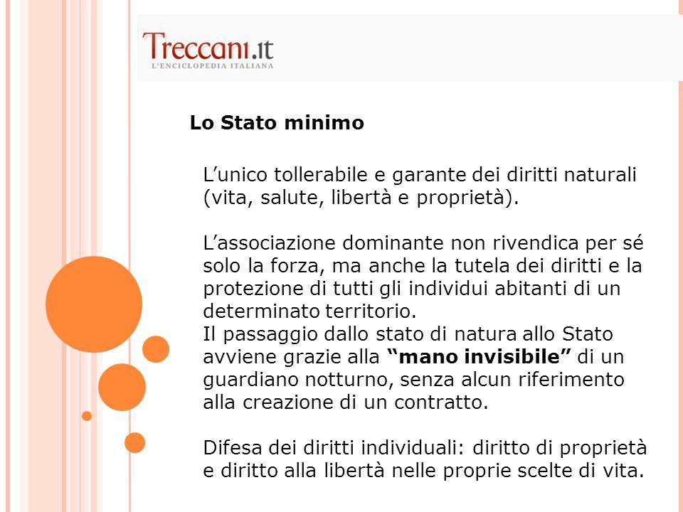 Lo Stato minimo L'unico tollerabile e garante dei diritti naturali (vita, salute, libertà e proprietà).