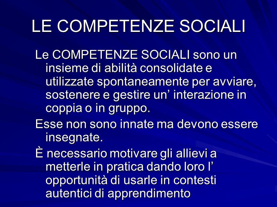 LE COMPETENZE SOCIALI