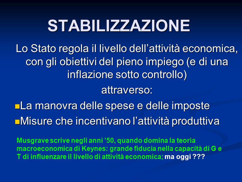 STABILIZZAZIONE Lo Stato regola il livello dell'attività economica, con gli obiettivi del pieno impiego (e di una inflazione sotto controllo)