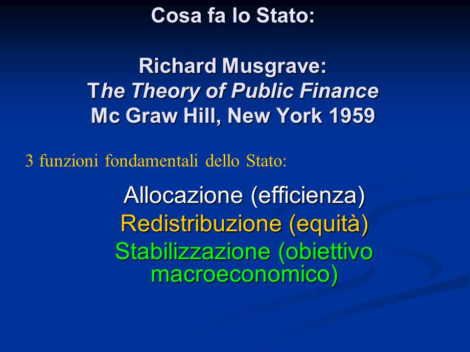 Allocazione (efficienza) Redistribuzione (equità)
