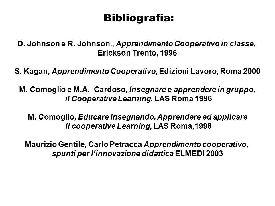 Bibliografia: D. Johnson e R. Johnson., Apprendimento Cooperativo in classe, Erickson Trento, 1996.