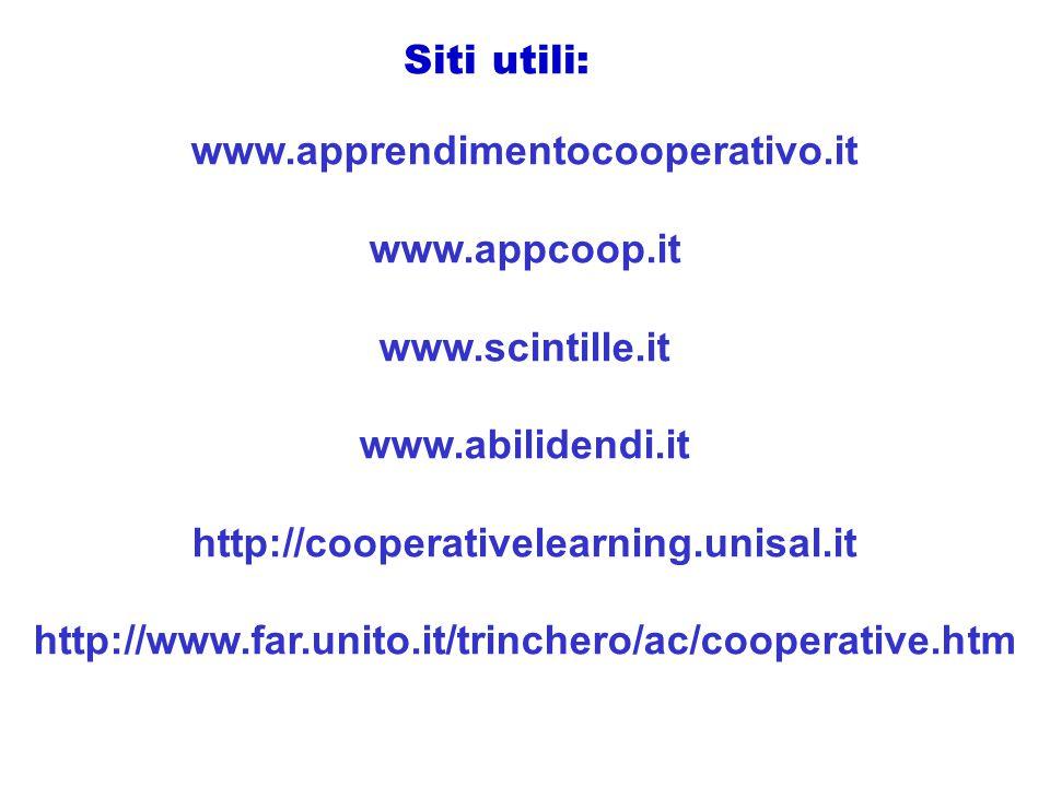Siti utili: www.apprendimentocooperativo.it. www.appcoop.it. www.scintille.it. www.abilidendi.it.