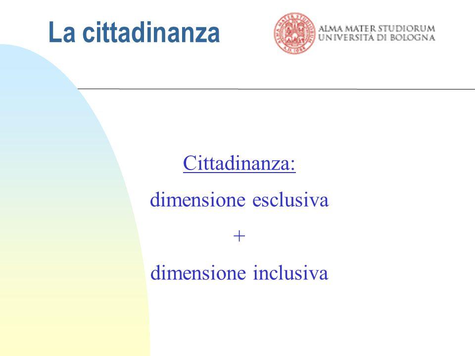 La cittadinanza Cittadinanza: dimensione esclusiva +