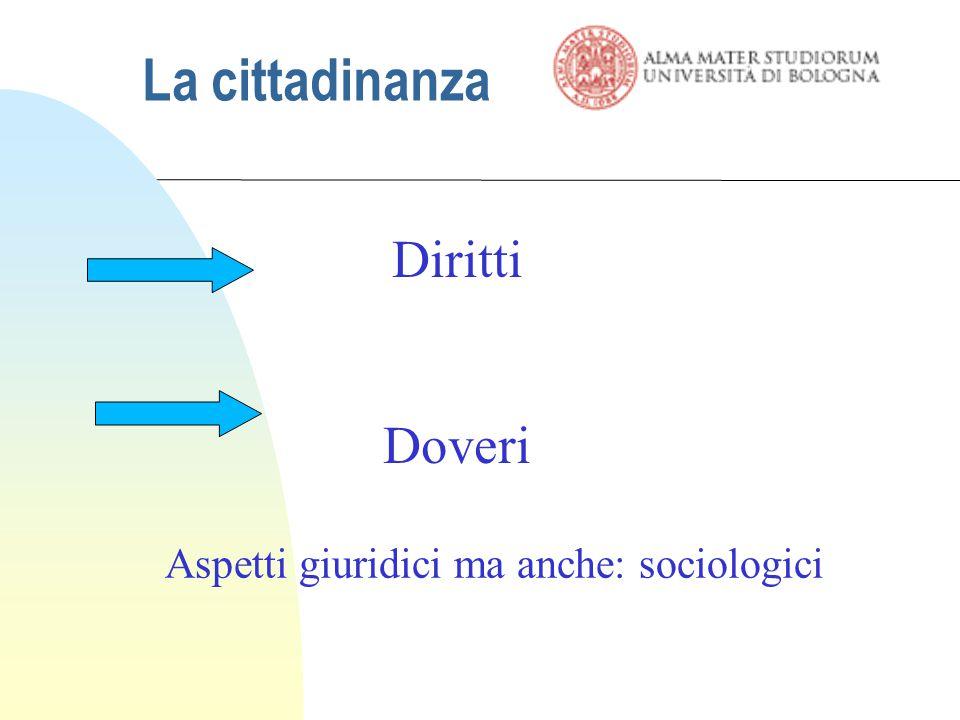 La cittadinanza Diritti Doveri Aspetti giuridici ma anche: sociologici