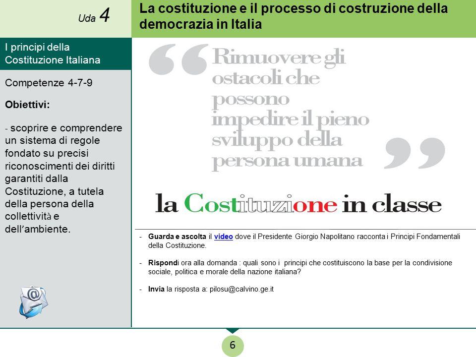 Uda 4 La costituzione e il processo di costruzione della democrazia in Italia. I principi della Costituzione Italiana.