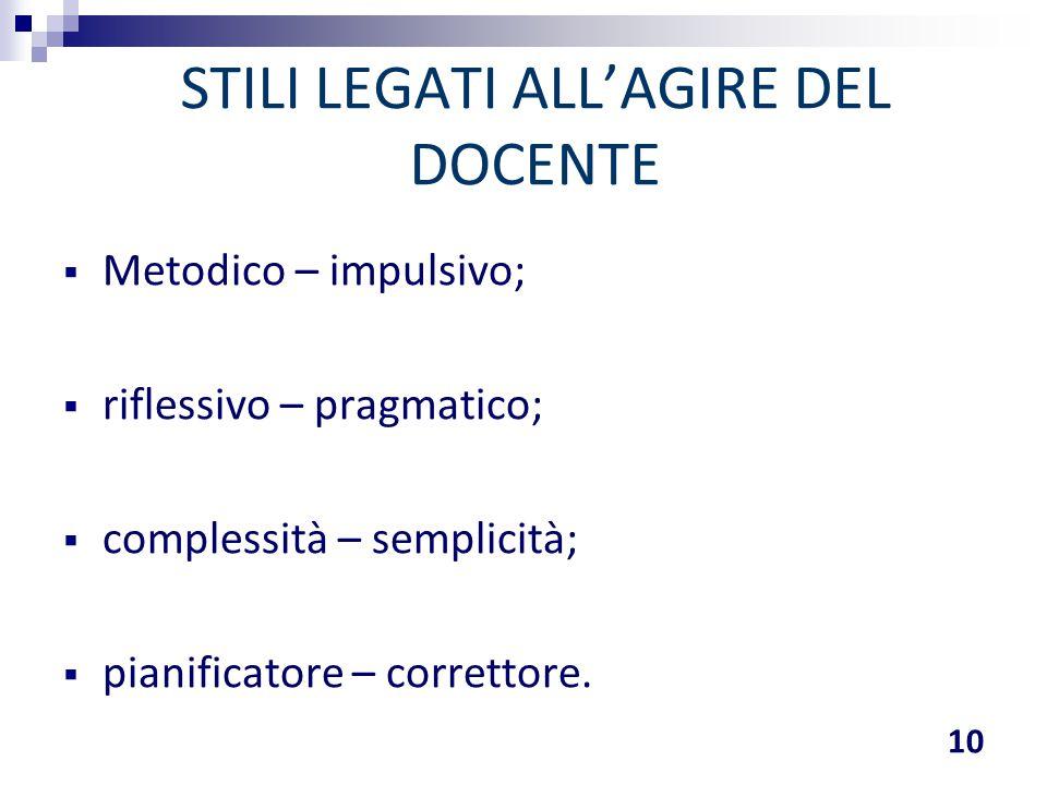 STILI LEGATI ALL'AGIRE DEL DOCENTE