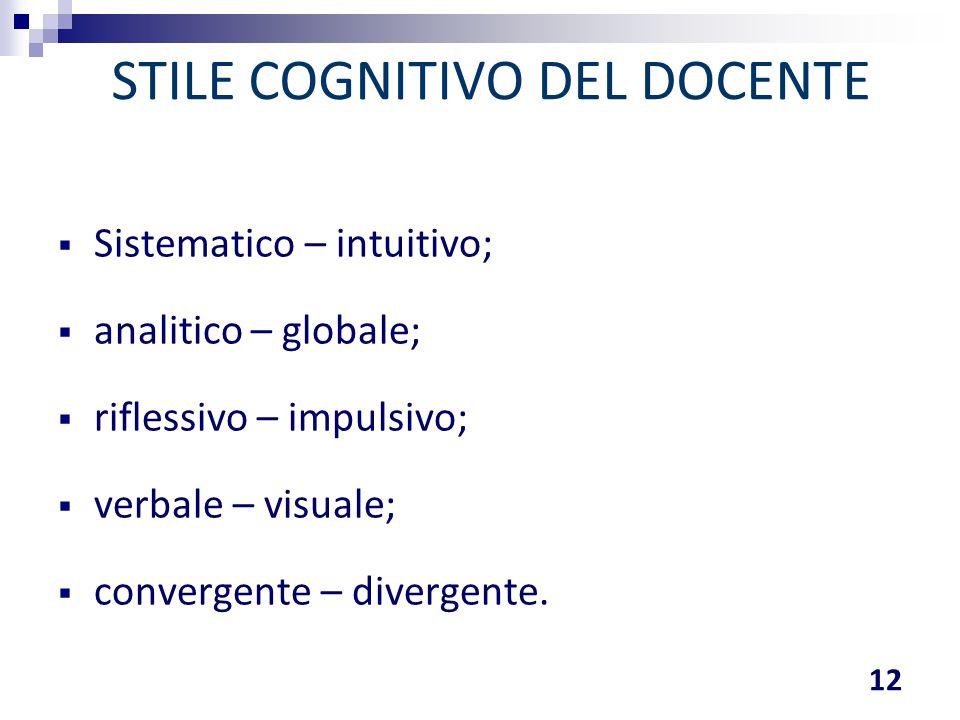 STILE COGNITIVO DEL DOCENTE