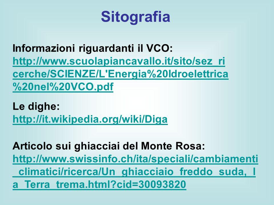 Sitografia Informazioni riguardanti il VCO: http://www.scuolapiancavallo.it/sito/sez_ricerche/SCIENZE/L Energia%20Idroelettrica%20nel%20VCO.pdf.