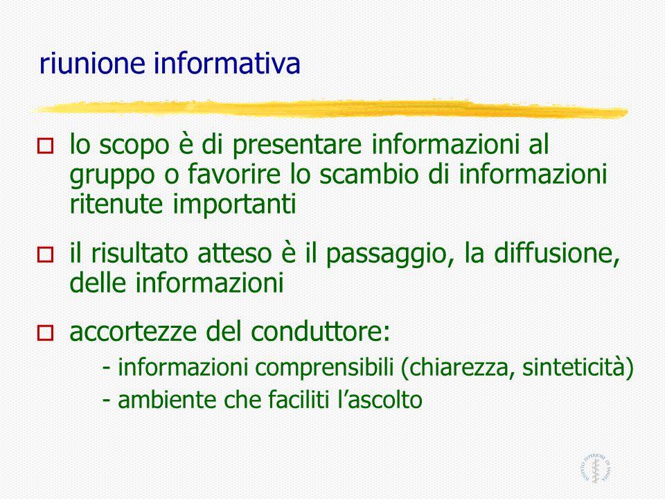 riunione informativa lo scopo è di presentare informazioni al gruppo o favorire lo scambio di informazioni ritenute importanti.