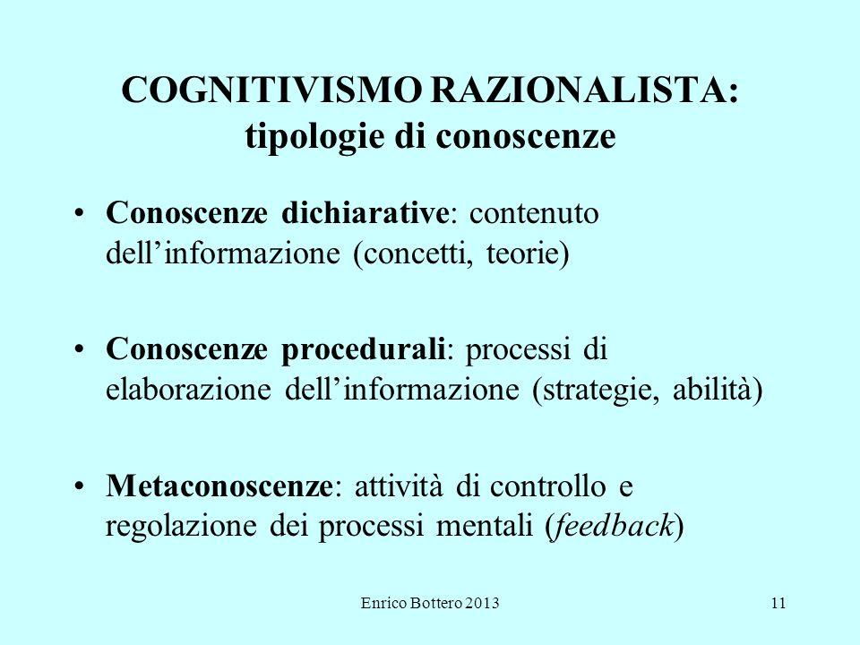 COGNITIVISMO RAZIONALISTA: tipologie di conoscenze