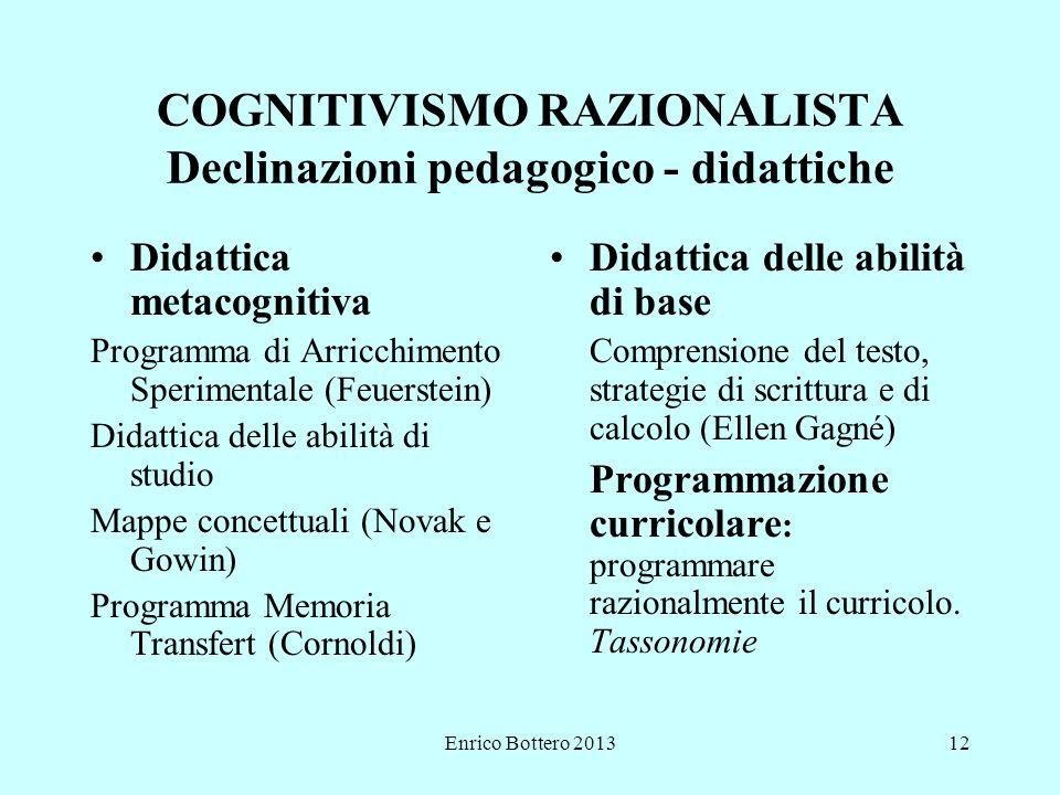 COGNITIVISMO RAZIONALISTA Declinazioni pedagogico - didattiche