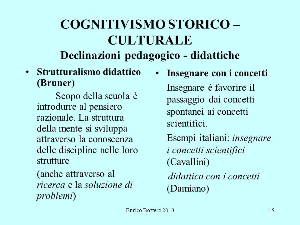 COGNITIVISMO STORICO – CULTURALE Declinazioni pedagogico - didattiche