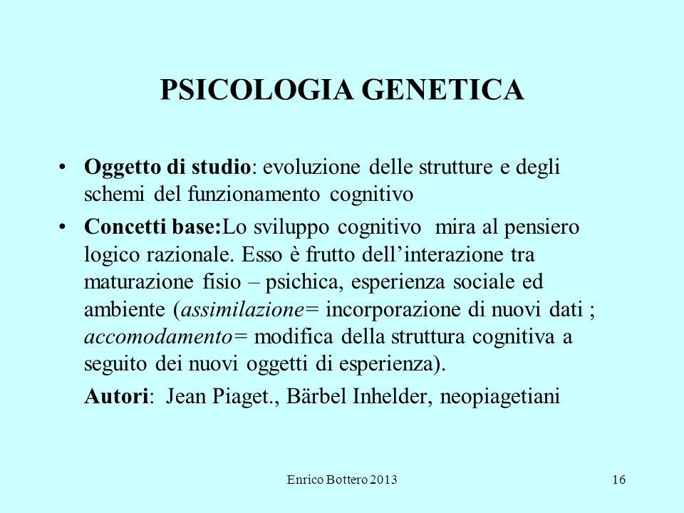 PSICOLOGIA GENETICA Oggetto di studio: evoluzione delle strutture e degli schemi del funzionamento cognitivo.