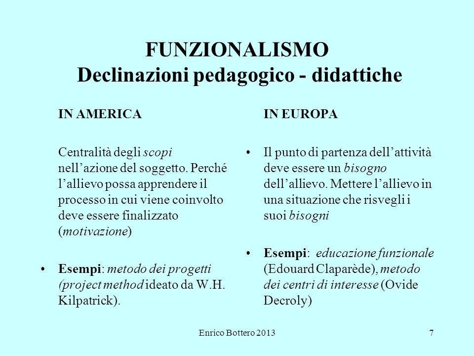 FUNZIONALISMO Declinazioni pedagogico - didattiche