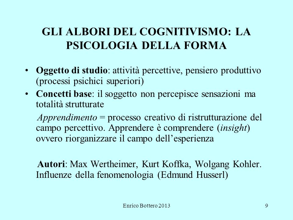 GLI ALBORI DEL COGNITIVISMO: LA PSICOLOGIA DELLA FORMA