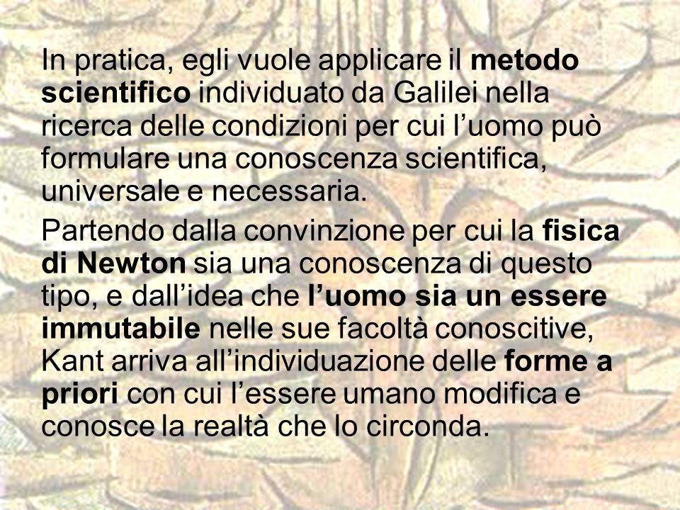 In pratica, egli vuole applicare il metodo scientifico individuato da Galilei nella ricerca delle condizioni per cui l'uomo può formulare una conoscenza scientifica, universale e necessaria.