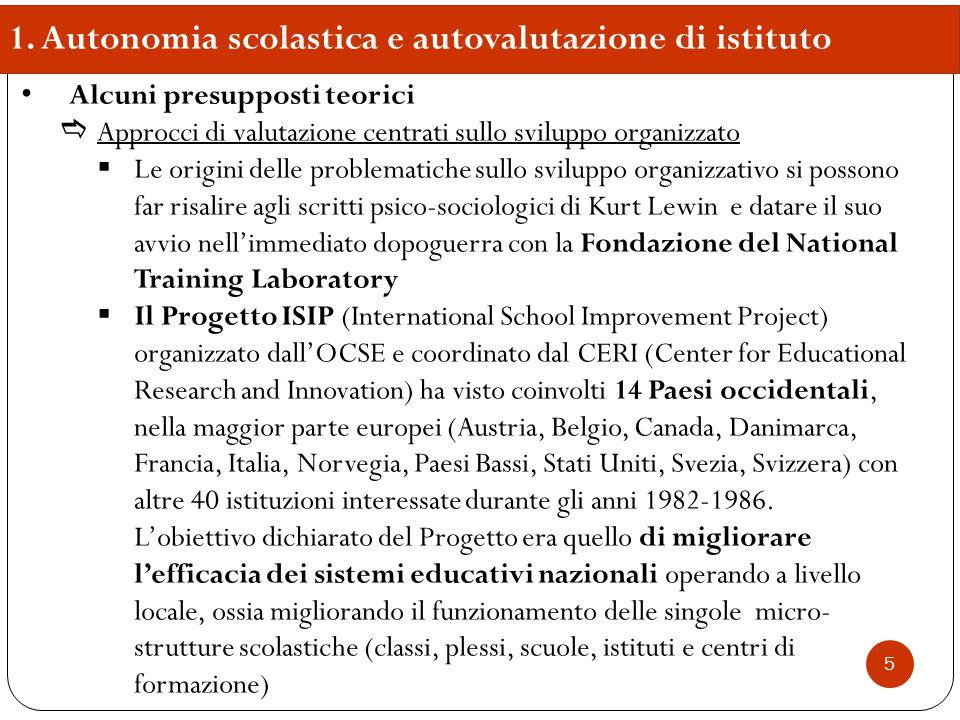 1. Autonomia scolastica e autovalutazione di istituto