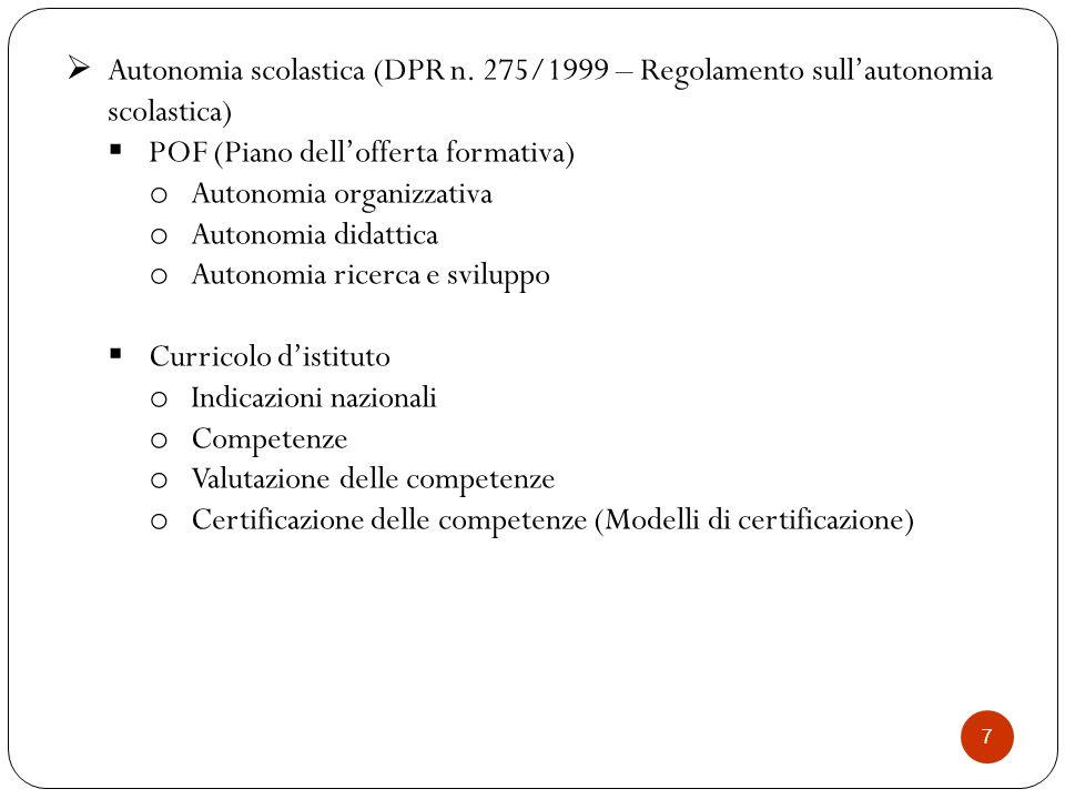 POF (Piano dell'offerta formativa) Autonomia organizzativa
