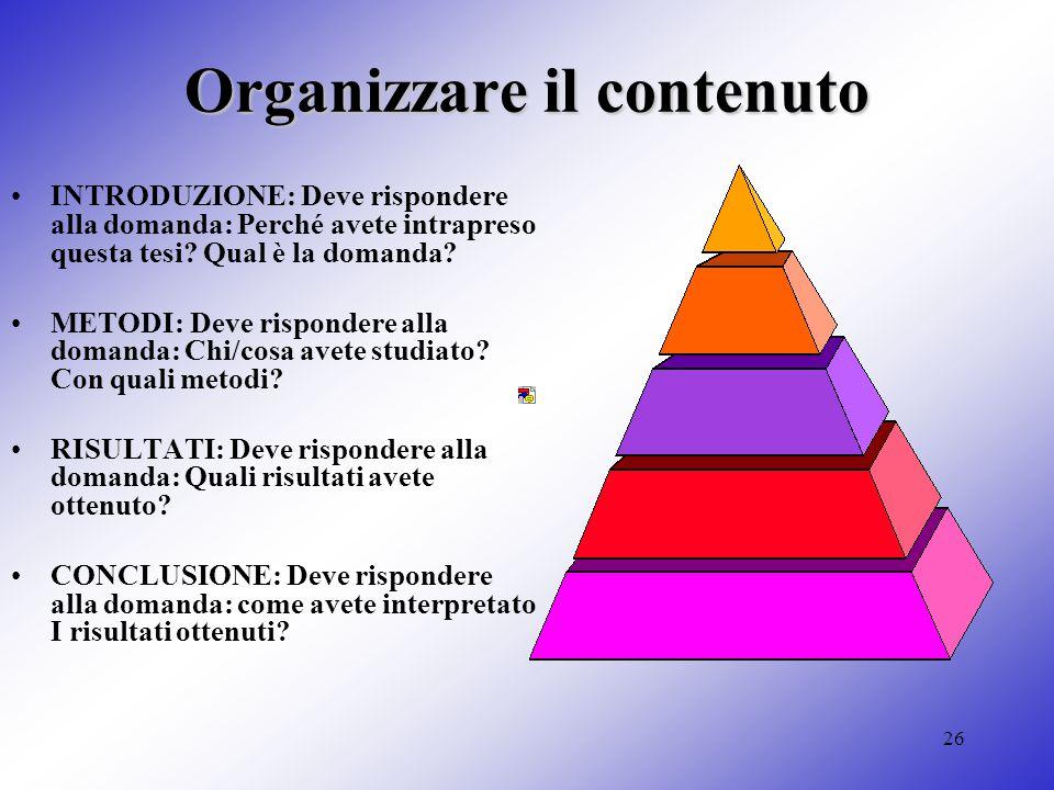 Organizzare il contenuto