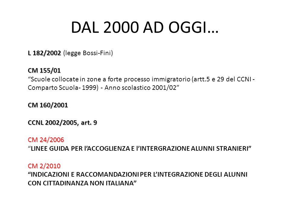 DAL 2000 AD OGGI… L 182/2002 (legge Bossi-Fini) CM 155/01